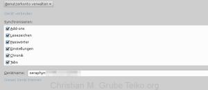 Firefox Sync Kontendetails Datensynchronisation