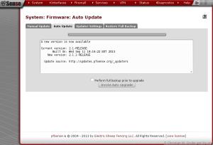pfSense 2.1.1 Udpate beendigt