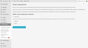 Daten exportieren in WordPress