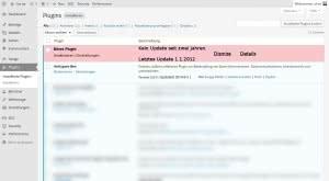 WordPress Pluginübersicht mit Meldung