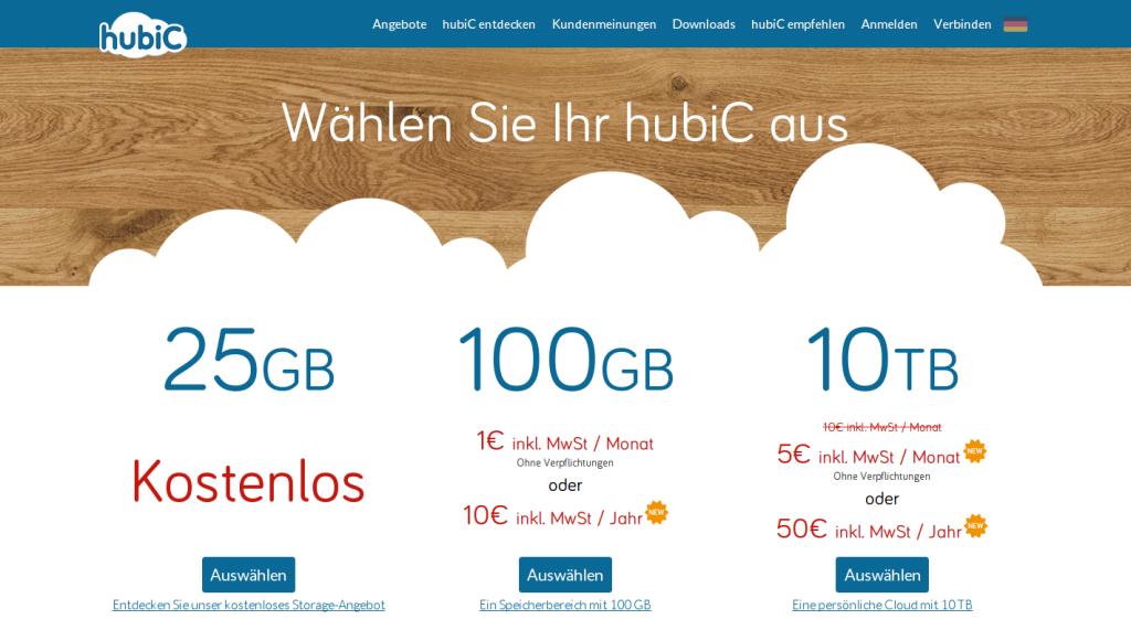 Die hubiC Cloud Storage Angebote – hubiC.com