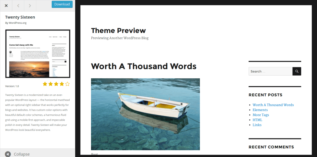 Preview des Themes Twentysixteen auf WordPress.org