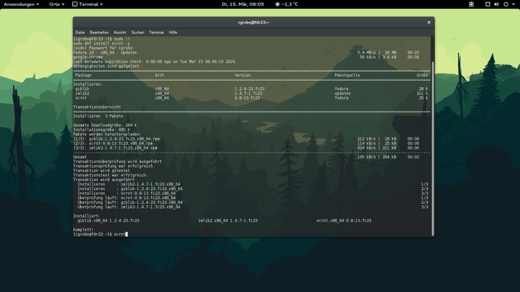 Fedfora 23 Gnome 3.18.2 in KVM