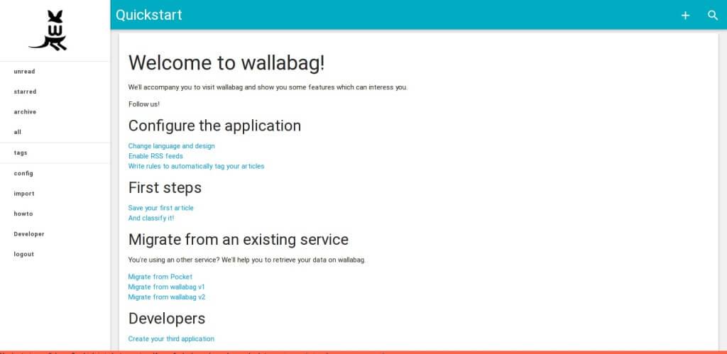 Begrüssung in der neuen Version von Wallabag