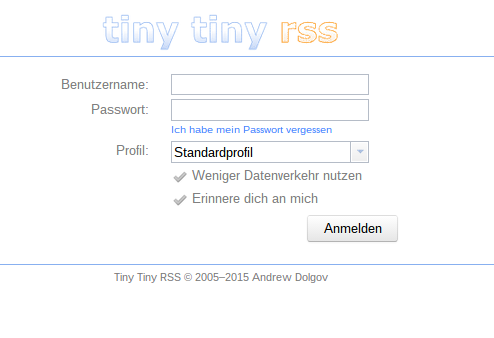 TinyTinyRSS Login Page