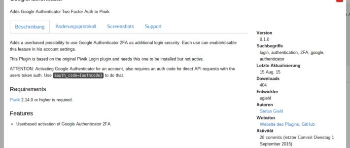 Google Authenticator 2FA in Matomo