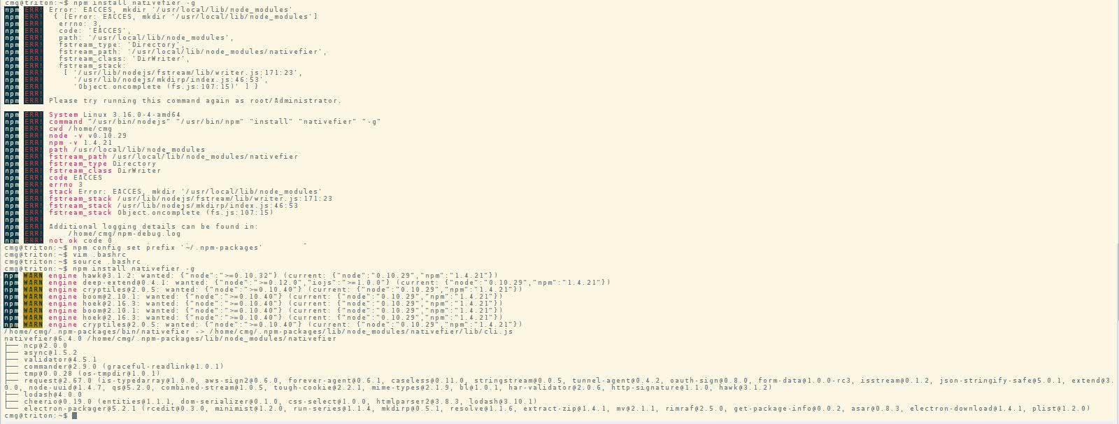 NPM als Benutzer installieren